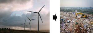 FRP製風力発電ブレード驚きの廃棄量予想には注意が必要。いつかは廃棄物となる。